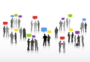 Vector of Business People with Speech Bubbles